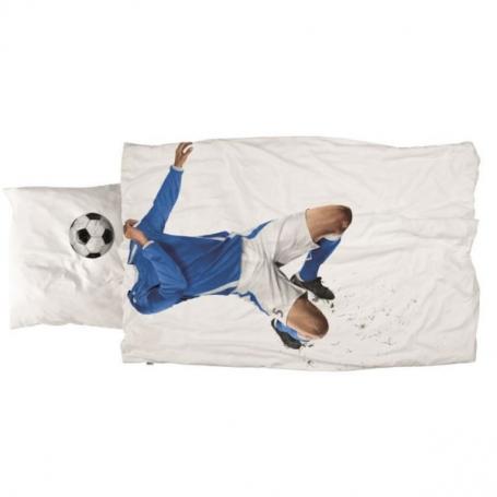 """Bettwäsche Garnitur (Decken- u. Kissenanzug) """"Fussball blau"""" (160x210 / 65x100 cm)"""