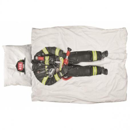 """Bettwäsche Garnitur (Decken- u. Kissenanzug) """"Feuerwehrmann"""" (160x210 / 65x100 cm)"""
