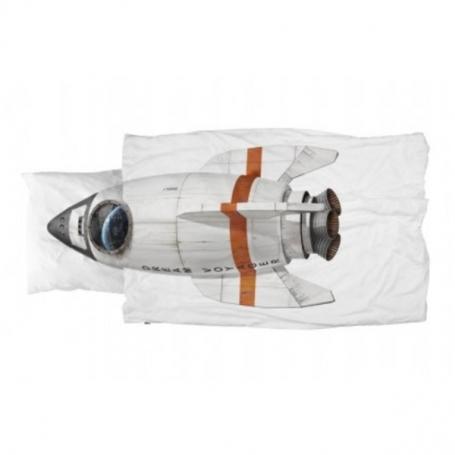 """Bettwäsche Garnitur (Decken- u. Kissenanzug) """"Rakete"""" (160x210 / 65x100 cm)"""