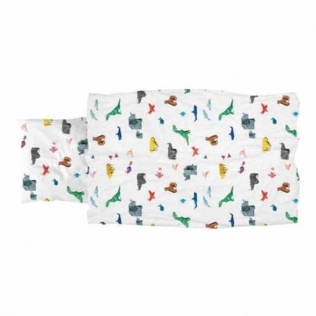 """Bettwäsche Garnitur (Decken- u. Kissenanzug) """"Paper Zoo"""" (160x210 / 65x100 cm)"""