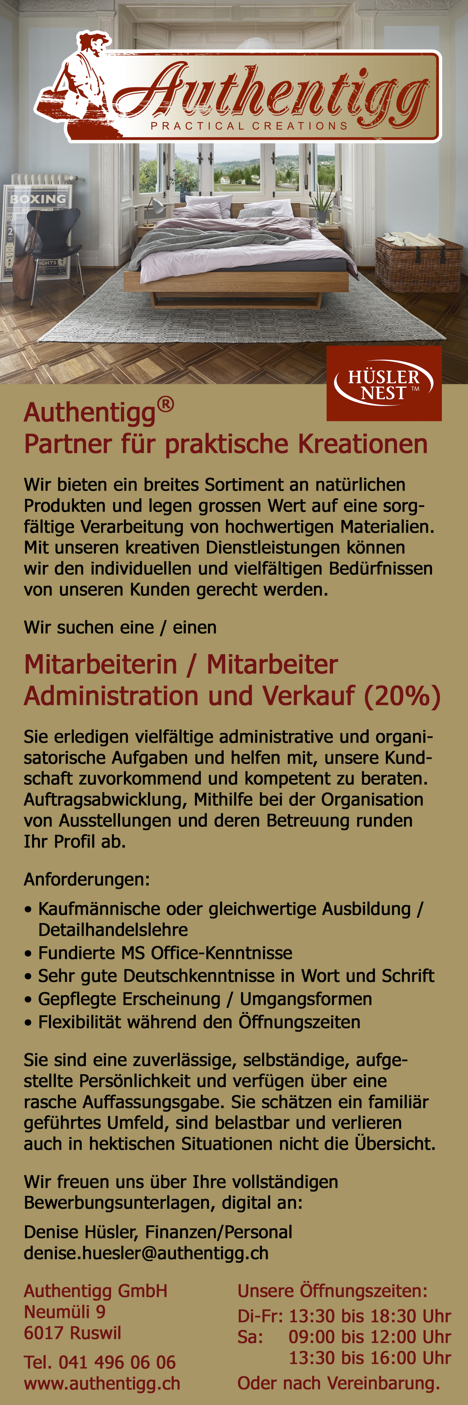 Stelleninserat, Authentigg GmbH, Ruswil, 20% Verkauf + Administration
